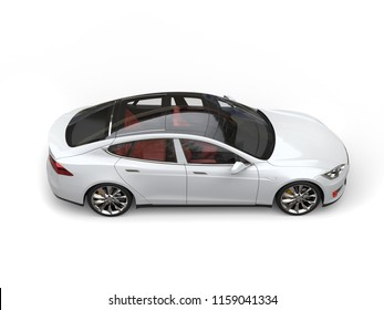 Cool white modern electric sports car - top down side view - 3D Illustration