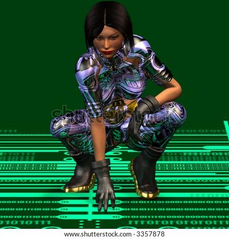 Cool woman in futuristic