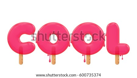 cool word made melting ice lolly stock illustration 600735374