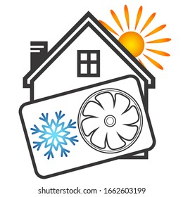 Cooling and heating house sun and snowflake air conditioning symbol