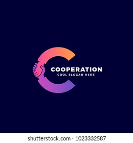 Cooperation Abstract Sign, Symbol or Logo Template. Hand Shake Incorporated in Letter C Concept. On Dark Background. Raster Copy.