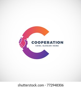 Cooperation Abstract Sign, Symbol or Logo Template. Hand Shake Incorporated in Letter C Concept. Isolated. Raster Copy.