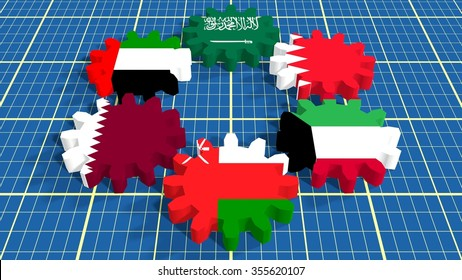 Cooperation Council for the Arab States of the Gulf. Politic and economic union members flags on cog wheels. Blueprint surface backdrop