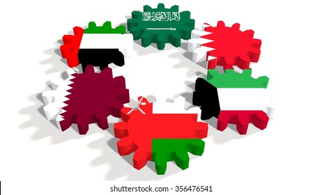 Cooperation Council for the Arab States of the Gulf. Politic and economic union members flags on cog wheels. White backdrop