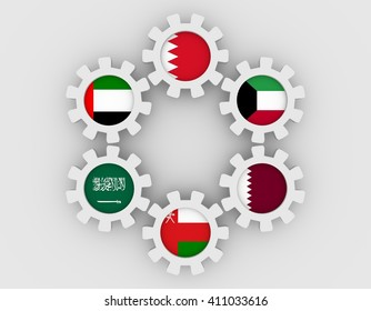 Cooperation Council for the Arab States of the Gulf. Politic and economic union members flags on cog wheels. Global teamwork. White background. 3D rendering
