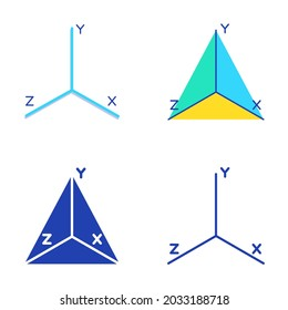 Coordinate axis system icon set in flat and line style. Math graph symbol.