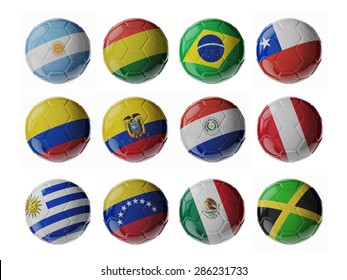 Copa America 2015. Set of 3d soccer balls with flags.