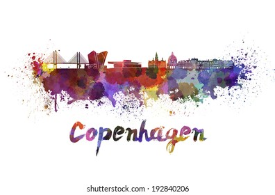 Copenhagen skyline in watercolor splatters with clipping path