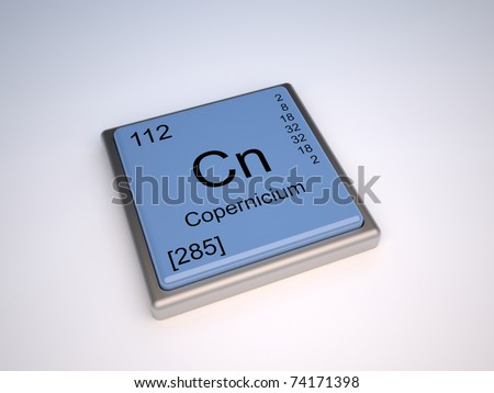 Copernicium Chemical Element Periodic Table Symbol Stock