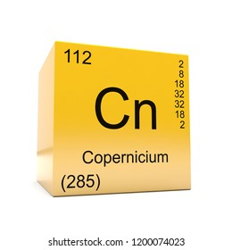 Copernicium chemical element symbol from the periodic table displayed on glossy yellow cube 3D render
