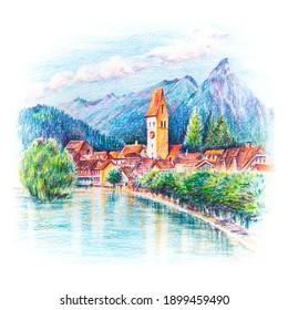 Skizze der Kirche und des Flusses in der Altstadt von Unterseen Interlaken, Schweiz