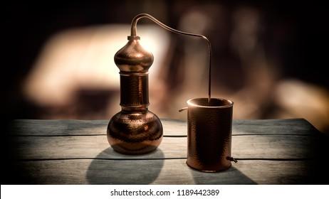 Copper alembic distiller 3d render