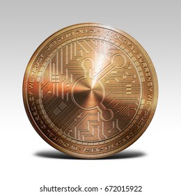 copper bitconnect coin isolated on white background 3d rendering