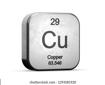 Copper element from the periodic table series icons. Metallic icon 3D rendered on white background