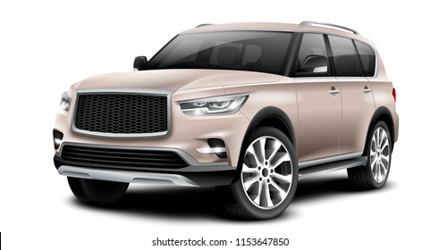 Copper Generic SUV Car. Off Road Crossover With Glossy Surface On White Background Perspective View With Isolated Path