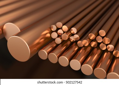 Copper metal, rods of copper. 3d illustration.