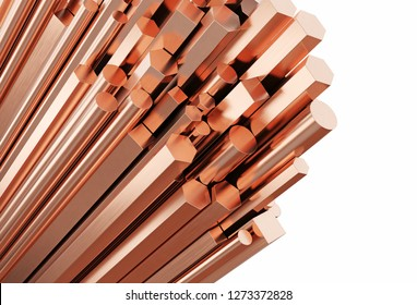 Copper rolled metal products. Stack of round, square, hexagonal copper rods isolated on white background. 3d illustration.