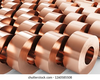 Copper sheets in rolls, rolled metal products. Warehouse of copper rolls. 3d illustration.