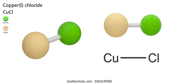 Copper(I) chloride, commonly called cuprous chloride, is the lower chloride of copper, with the formula CuCl or ClCu. 3d illustration. The molecule is represented in different structures.