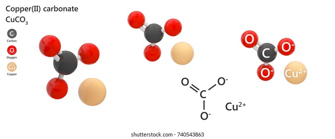 Copper(II) carbonate or cupric carbonate is a chemical compound with formula CuCO3. 3d illustration. The molecule is represented in different structures.