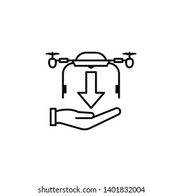copter, drone, hand, arrow, down icon on white background