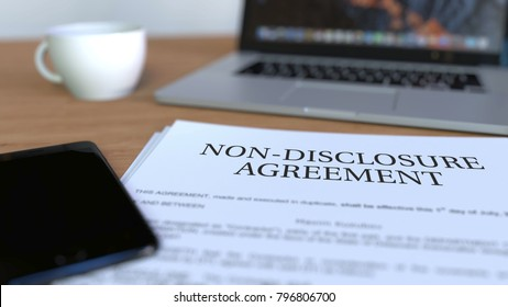Copy of non-disclosure agreement on the desk. 3D rendering