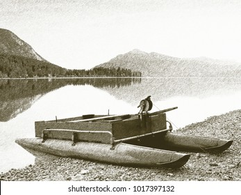 Copy of old lithographic technique. Abandoned old boat stuck on sand of beach. Smooth water level, islad on horizon.