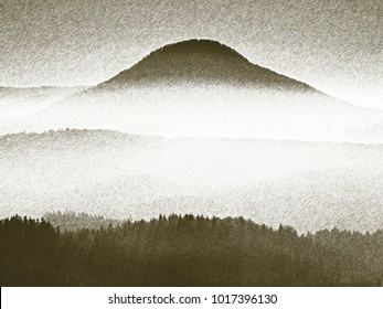Copy of old lithographic technique. Dreamy hilly landscape lost in thick fog. Fantastic morning glowing by gentle sunlight, foggy valley