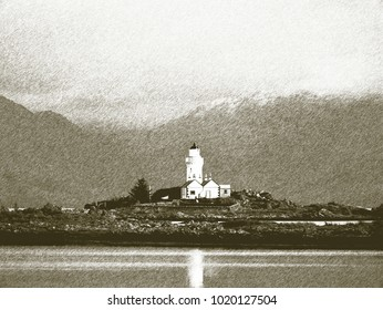 Copy of old lithographic technique. Historical lighthouse on island. Shinning lighthouse