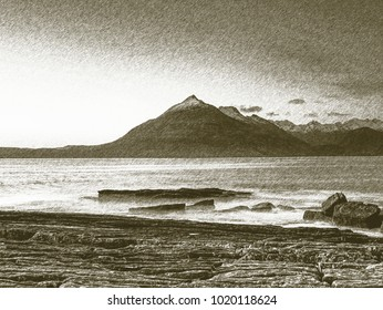 Copy of old lithographic technique.  Low angle  overlooking of offshore rocks and smooth sea, mountains at horizon