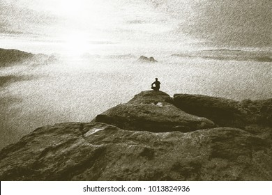 Copy of old lithographic technique. Man in nature. Hiker on rocky view point above misty valley. Sunny daybreak in rocky mountains