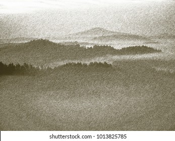 Copy of old lithographic technique. Misty valley between hills. Peaks of  mountains above creamy mist.