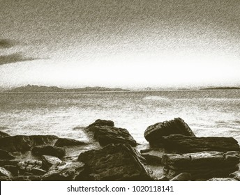 Copy of old lithographic technique. Stones stick out from smooth wavy sea. Far horizon touch water level.