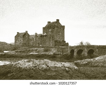 Copy of old lithographic technique. Tides in the lake at Eilean Donan Castle, Scotland. The stony bridge over the remnants of water