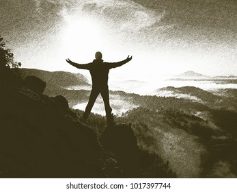 Copy of old lithographic technique. Tourist in nature. Hiker standing on top of a mountain and enjoying sunrise