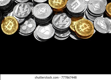 Copy space below stack and piles of Bitcoin and other different cryptocurrencies isolated on black background. 3D rendering
