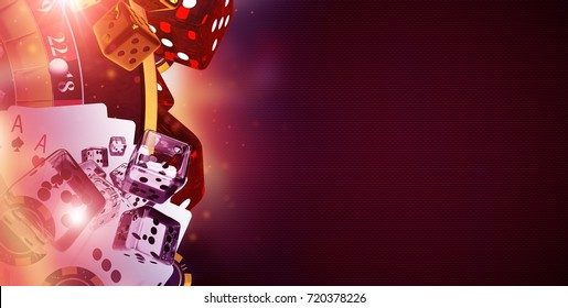 Copy Space Casino Banner 3D Rendered Illustration. Casino Gambling Concept. Craps, Dices, Roulette and Other Gaming Elements.