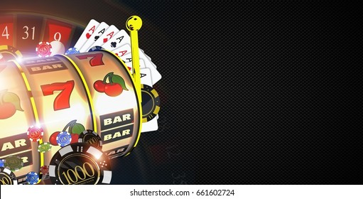 Copy Space Casino Games Banner Concept with 3D Rendered Illustration Elements. Casino Gambling Black Carbon Like Background.