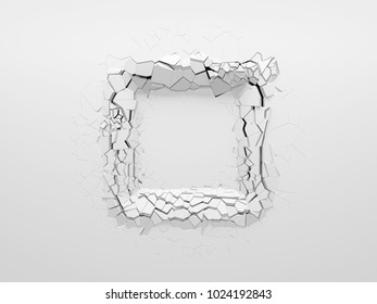 Copy space in the middle of square dent on the white wall. 3d illustration.