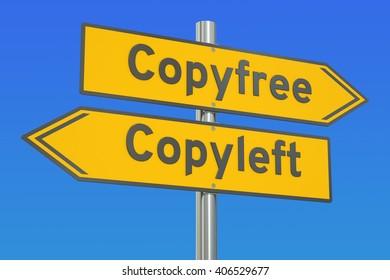 copyfree vs copyleft concept, 3D rendering