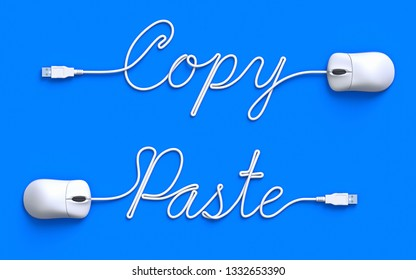 Copy-Paste concept with computer mouse and cable - 3D illustration