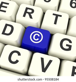 Copyright Blue Computer Key Showing Patent Or Trademarks