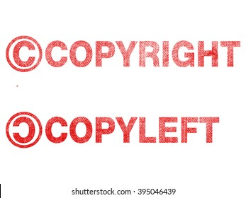 copyright copyleft text label stamp for documents.