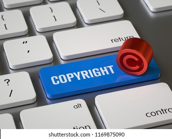 Copyright key on the keyboard, 3d rendering,conceptual image