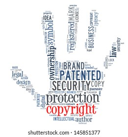 copyright patent in word collage concept