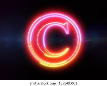 Copyright sign - colorful glowing outline greek alphabet symbol on blue lens flare dark background