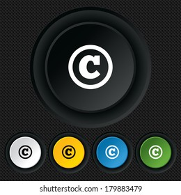 Copyright sign icon. Copyright button. Round colourful buttons on black texture.