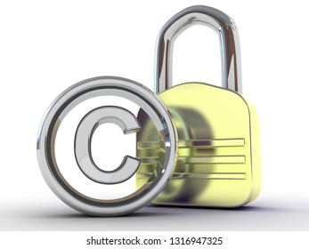 copyright sign with padlock on a white background. 3D rendering illustration
