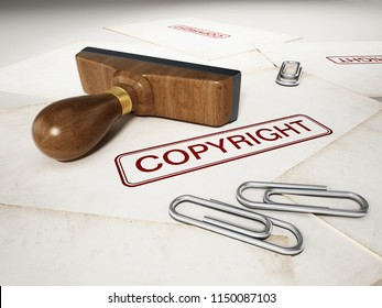 Copyright stamp standing on documents. 3D illustration.