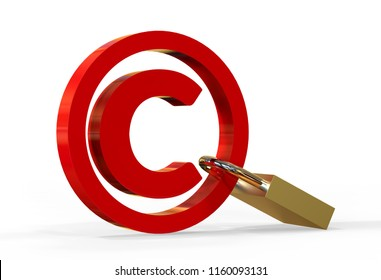 Copyright symbol concept with lock on isolated white background, 3d illustration